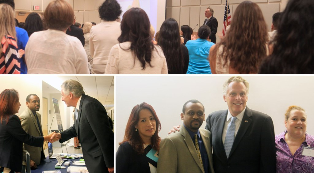 Top: Governor McAuliffe recieved a standing ovation for his keynote speech.  Bottom: the Governor visited the NOVA Workforce Development Division table.