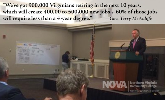 """Terry McAuliffe: """"We've got 900,000 Virginians retiring in the next 10 years, which will create 400,000 to 500,000 new jobs -- 60% of these jobs will require less than a 4-year degree."""""""