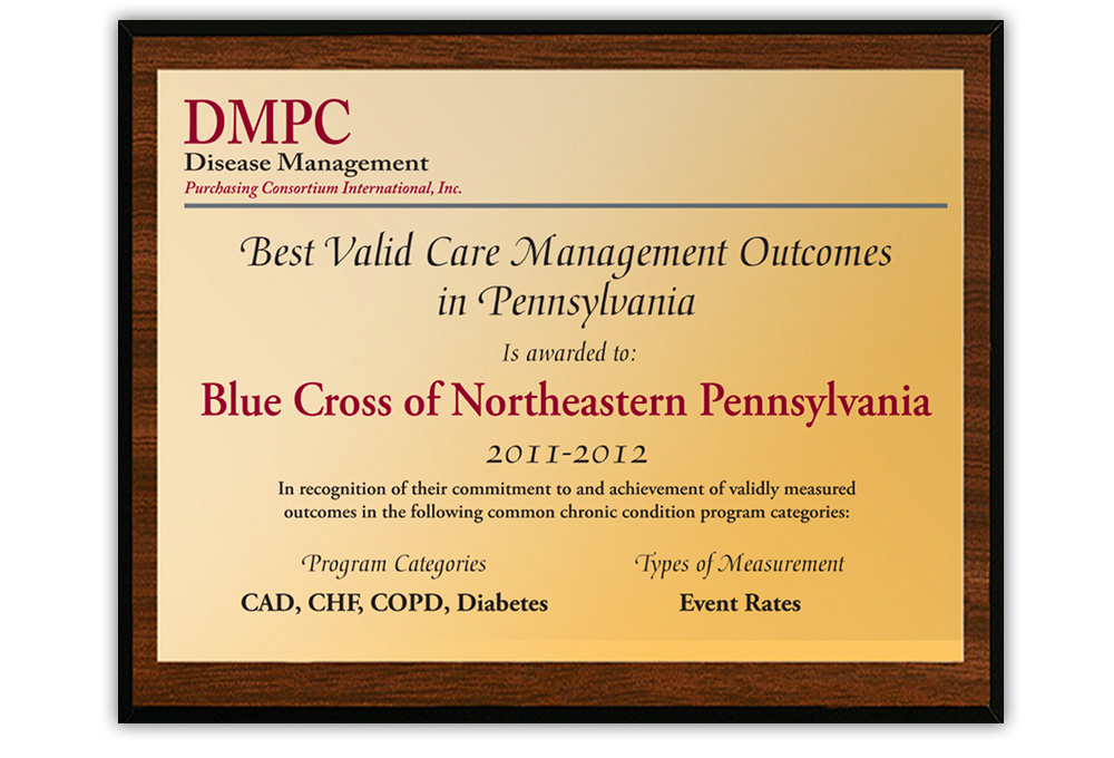 Disease Management Purchasing Consortium - sample plaque