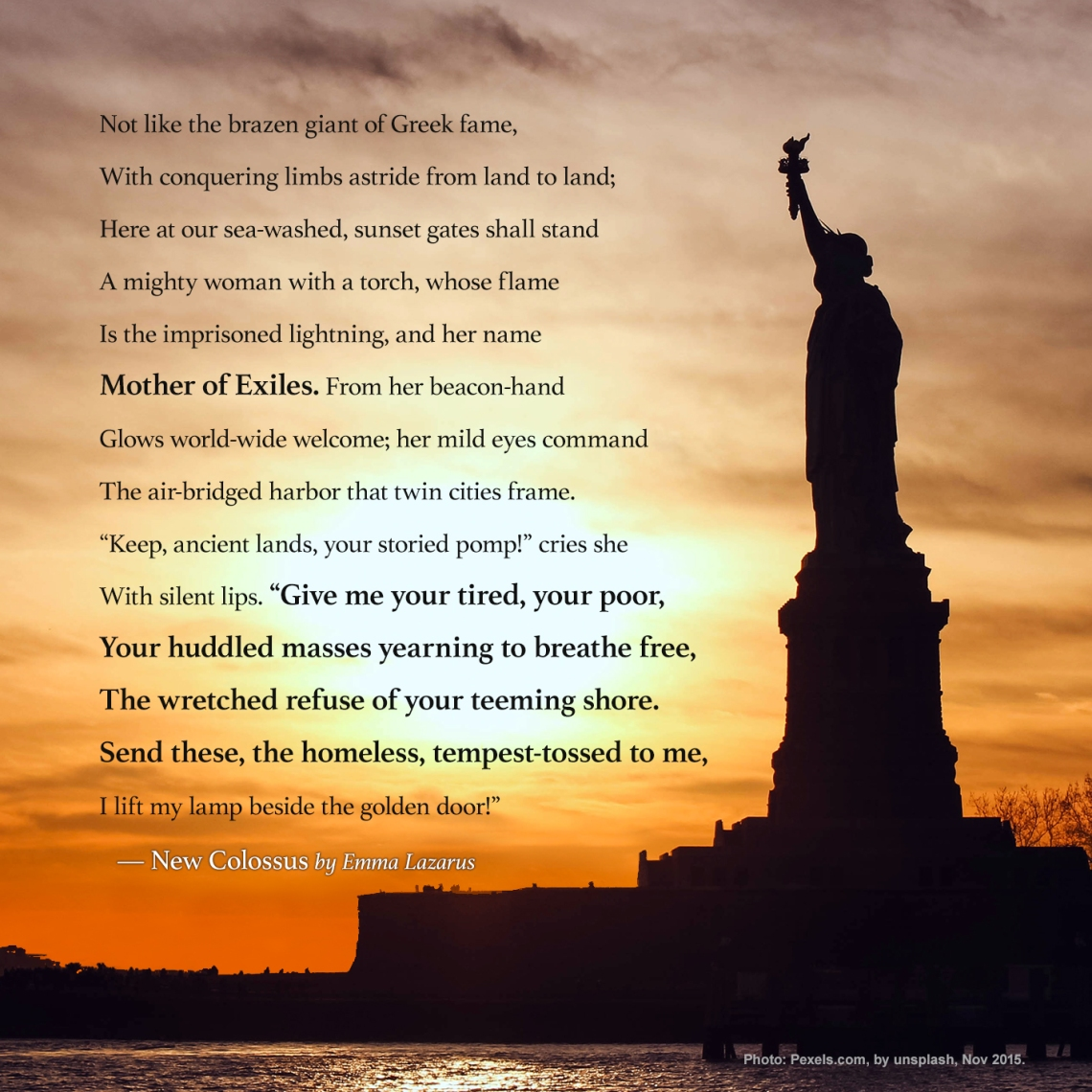 New Colossus, from the Statue of Liberty